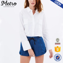 100% Cotton Woven Work Wear Women General White Shirts