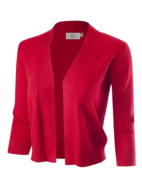 CJ Women 3/4 Sleeve Solid Open Bolero Cropped Cardigan for Women (S-XL)