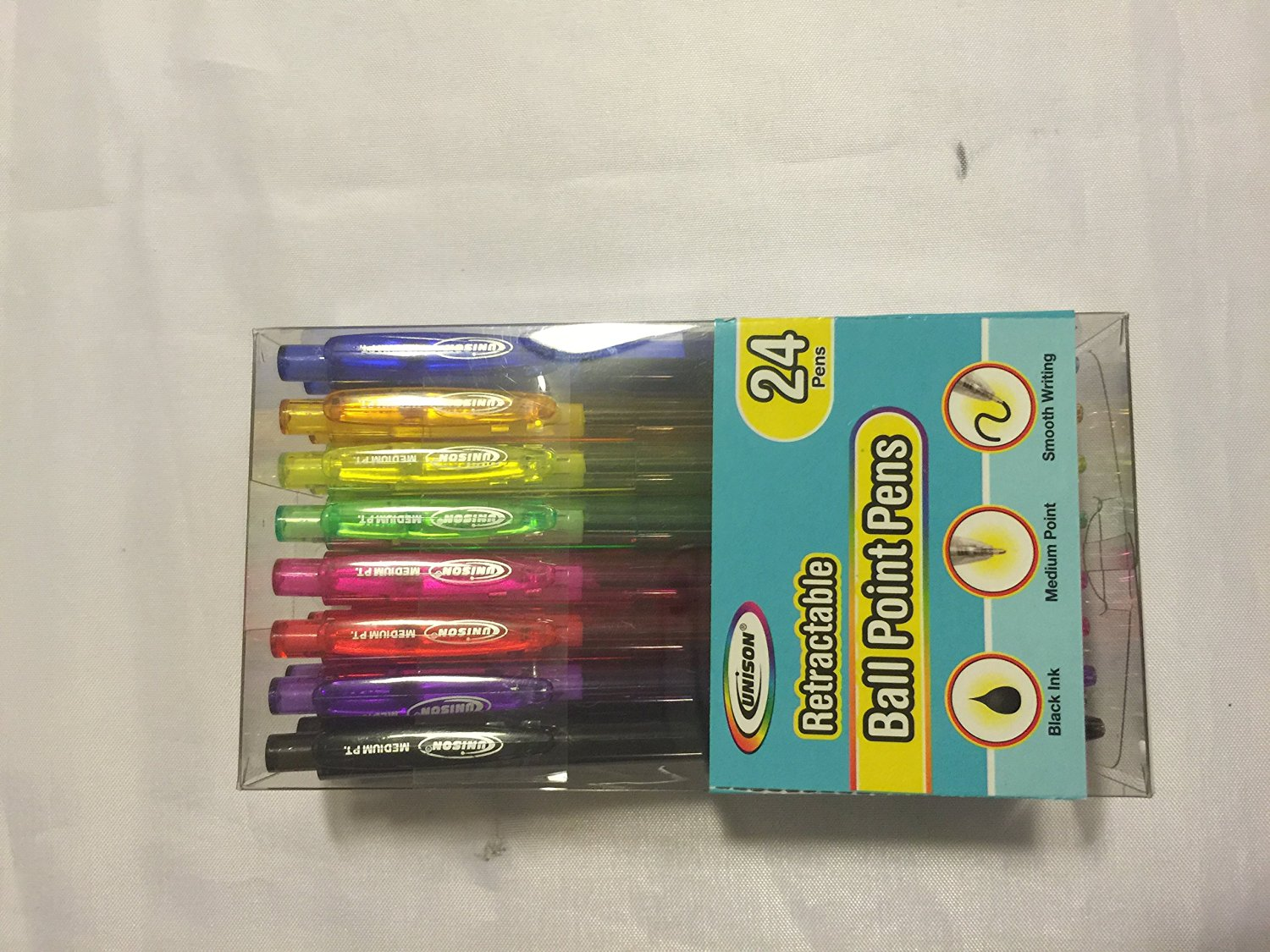 Unison Retractable [1 Pack] 24 Ball Point Pens - Black Ink