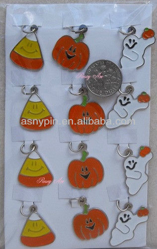 Enameled Halloween Charms Ghost Candy Corn Pumpkin For Jewely