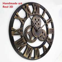 4 styles option retro rustic  personality decorative big luxury art vintague gear wall clock large on the wall, clock with gear