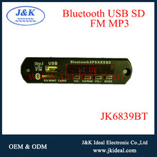 JK6839BT Best sales high quality mp3 bluetooth circuit board with usb sd fm line in