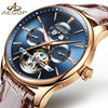 AESOP Brand Fashion Men stainless steel case genuine leather Chronograph automatic Quartz watch
