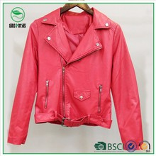 Women's fashion PU clothing/jacket with snap button and zipper