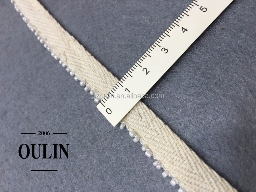 2017 cotton lace type beaded lace trim beautiful design lace fabrics trim for garment use
