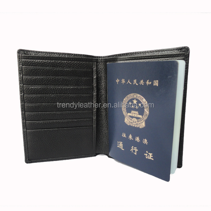 Custom genuine leather Litchi grain designer passport wallet covers