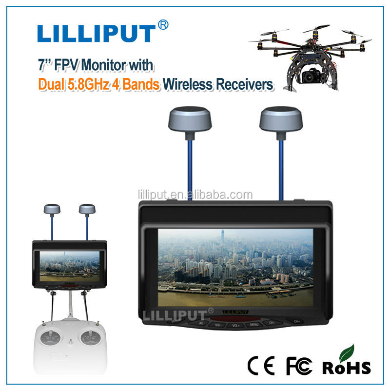 Lilliput 5.8 GHZ wireless reciever Dual antenna 7 inch wireless security camera monitor