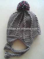 The Newest Woolen Fleeced Knitting Crochet Winter Earflap Hat