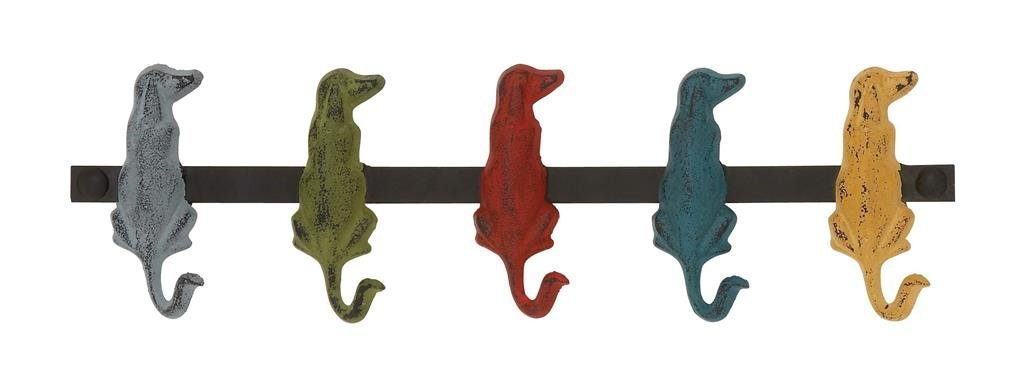 Deco 79 Metal Dog Wall Hooks 19 by 5-Inch