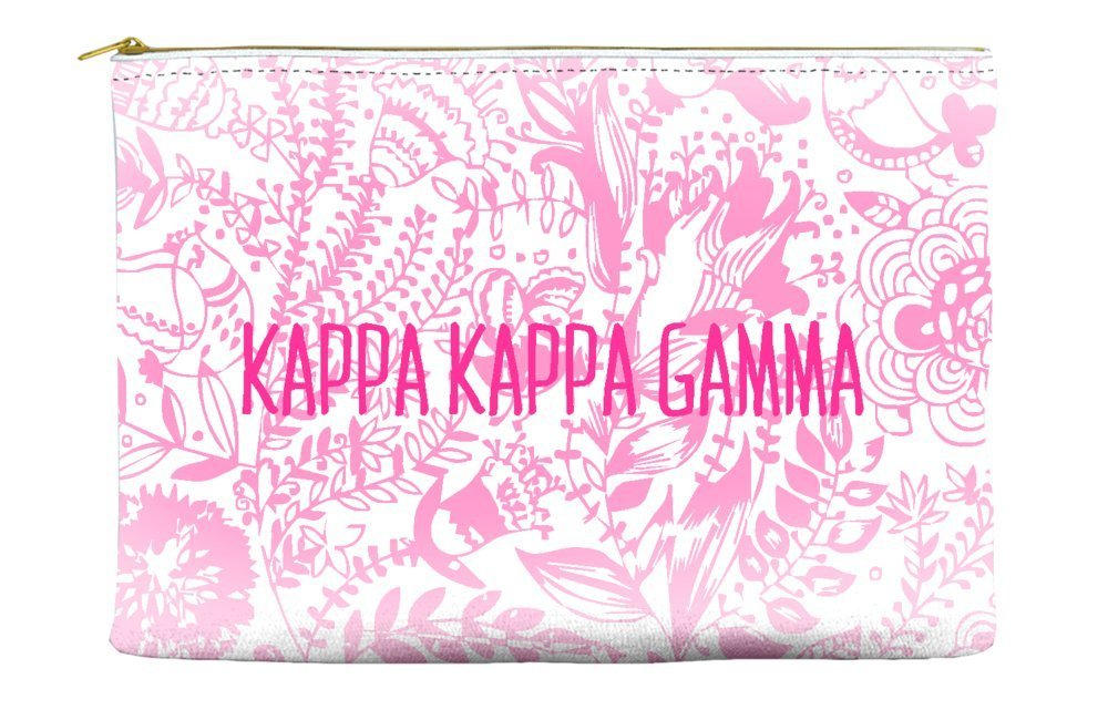 Kappa Kappa Gamma Floral Pattern Pink Cosmetic Accessory Pouch Bag for Makeup Jewelry & other Essentials