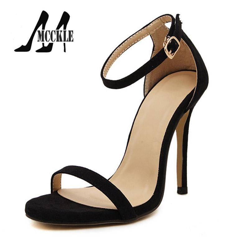 99be5f21dc9070 2016 New Hot Summer Sandals Women Shoes High-Heeled Ankle Strap PU+Suede  Party Shoes Woman 5 Colors Size 35-40 Z1265