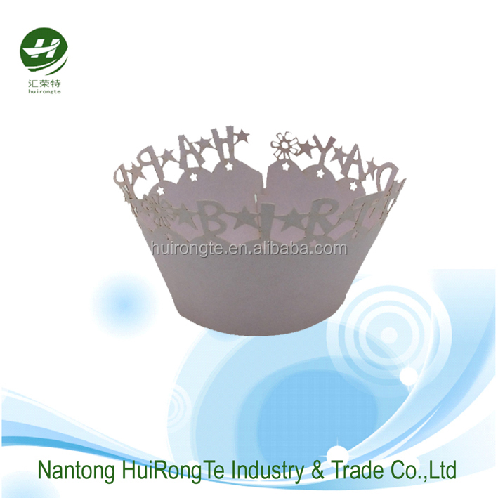 Disposable party supplies laser filigree cupcake wrapper laser cutting paper cupcake wraps for party cake wrappers
