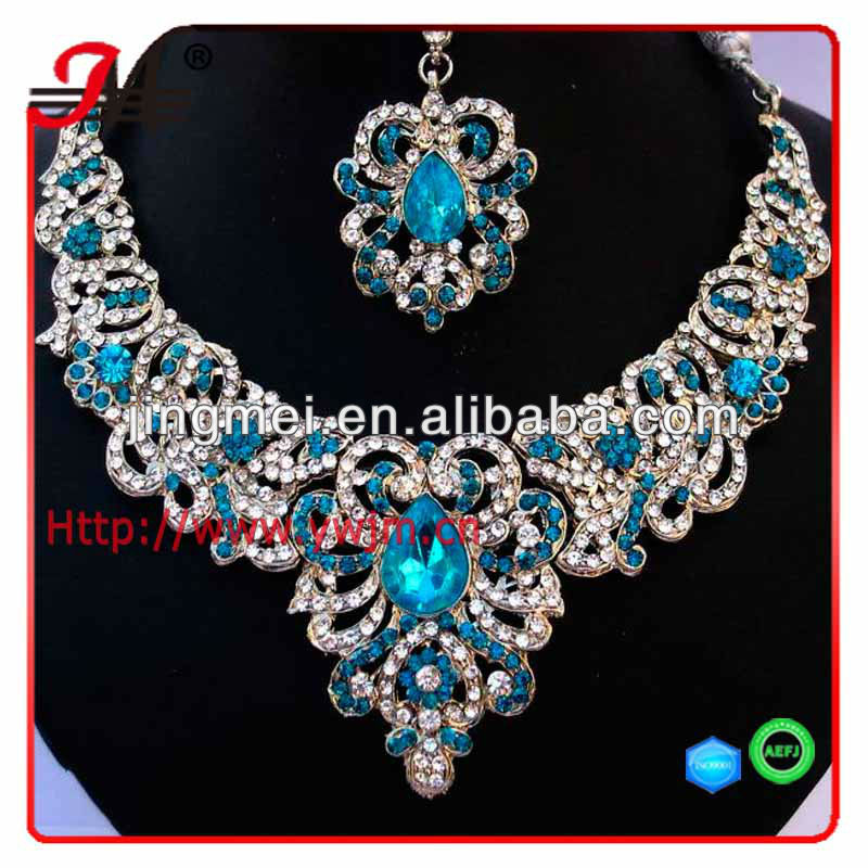JM1305 Indian Bollywood Kundan Silver Crystal Necklace Set Stylish Bridal Party Jewelry