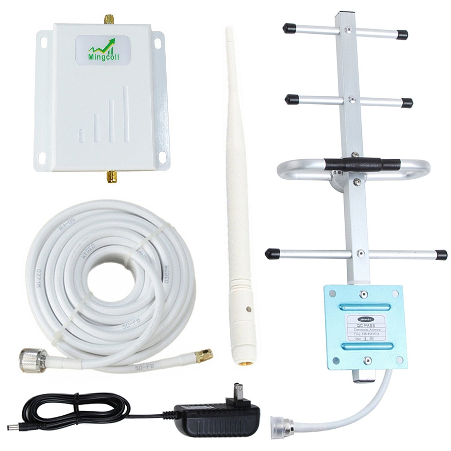 Verizon 4G Lte 700MHz Band 13 Cell Phone Signal Booster Mingcoll Cell Signal Repeater Booster for Home and Office (Yagi/whip(white-Verizon-Band 13-JXP))
