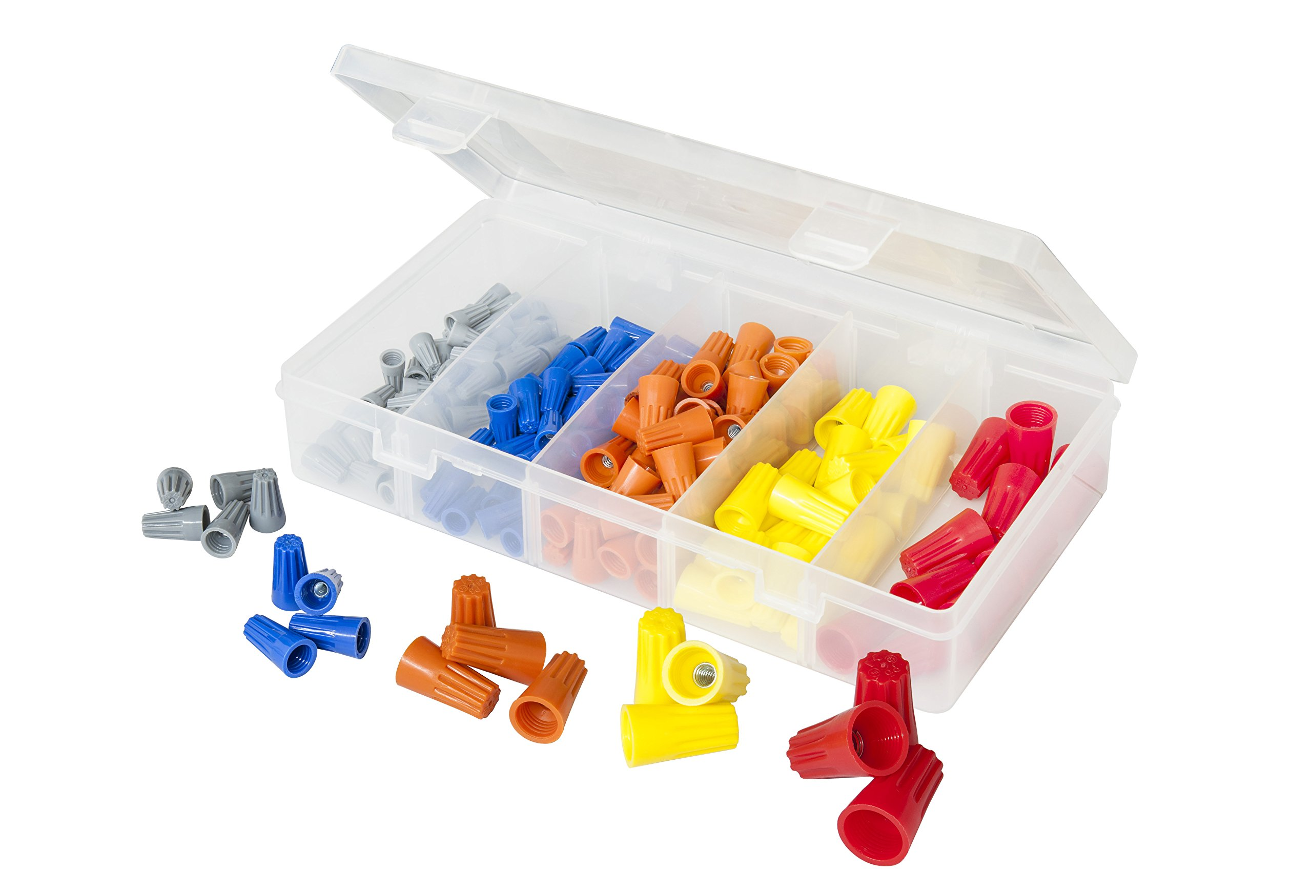 160 PCS Twist-On Wire Connector Assortment - Grey, Blue, Orange, Yellow, and Red Easy Twist-On Ribbed Cap - UL & CSA Listed