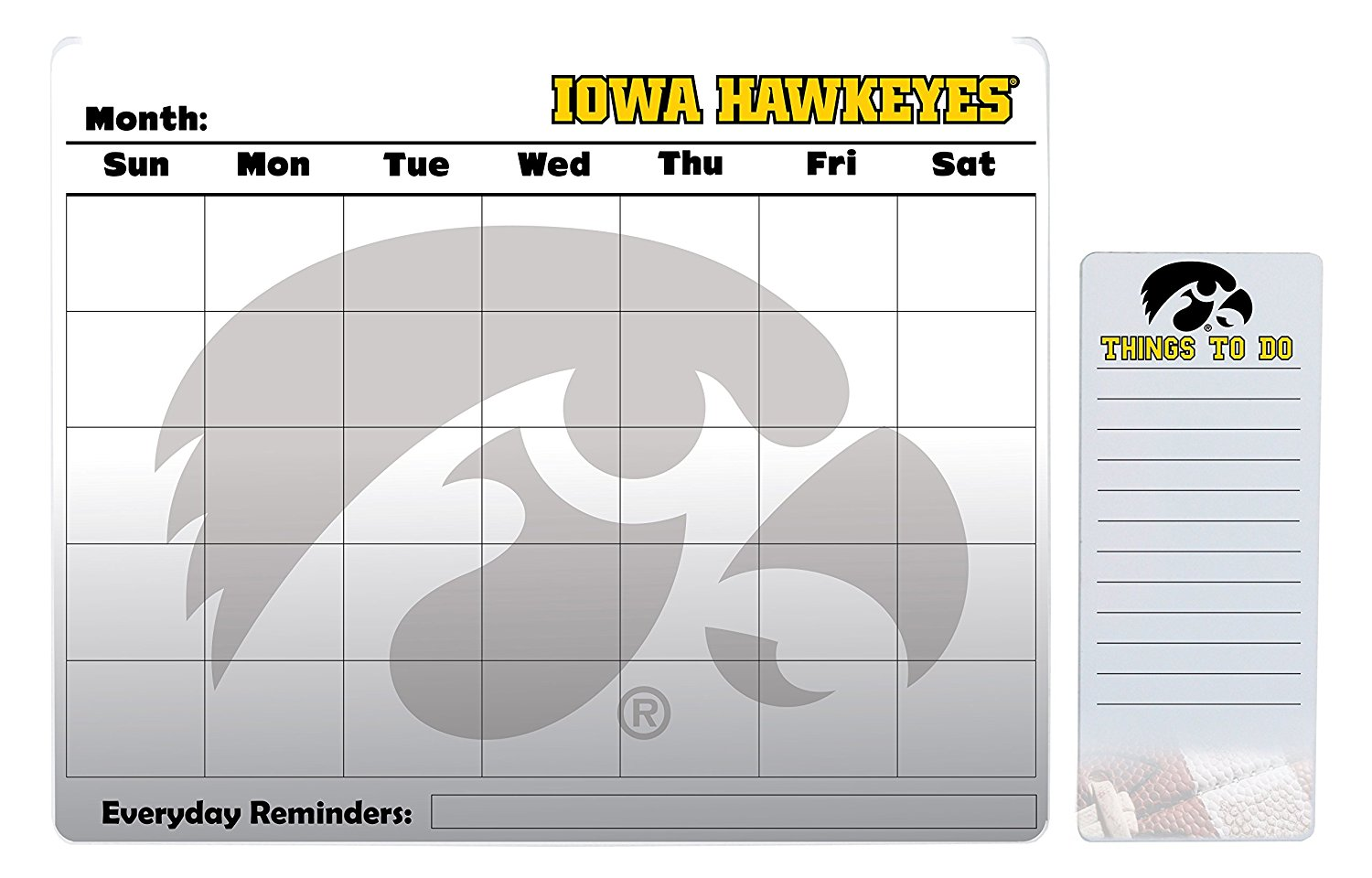 "Iowa Hawkeyes 16"" x 20"" Dry Erase Calendar Peel and Stick and 4"" x 10"" Dry Erase Board Peel and Stick"