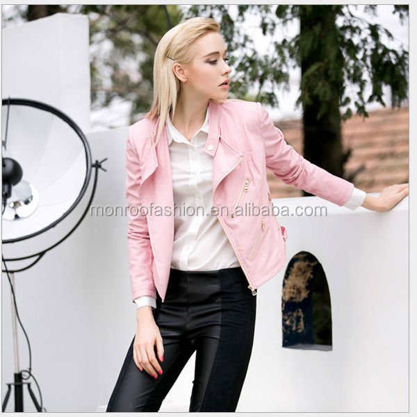 monroo fashion latest winter PU blouse women slim wholesale jacket
