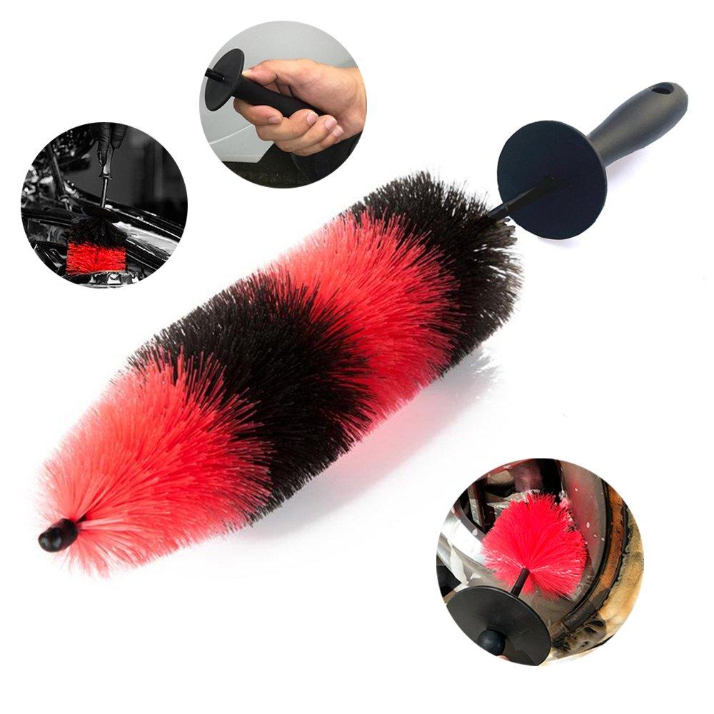 Master Wheel Brush, Easy Reach Wheel and RIM Detailing Brush 18'' Long Soft Bristle by TAKAVU, Car Wheel Brush, Rim Tire Detail Brush,Multipurpose use for Wheels,Rims,Exhaust Tips,Motorcycles,Bicycles