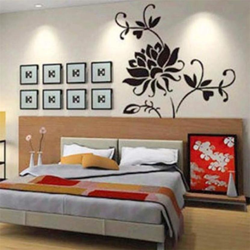 Zero Hot Stylish Black Lotus Mural Home Decor Decals Decorative Craft Art Wall Stickers