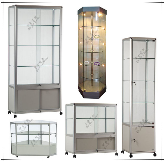 GZYJ GS001 Aluminum And Glass Display Cabinets/Glass Display  Showcase/Aluminium Tower Display Part 97