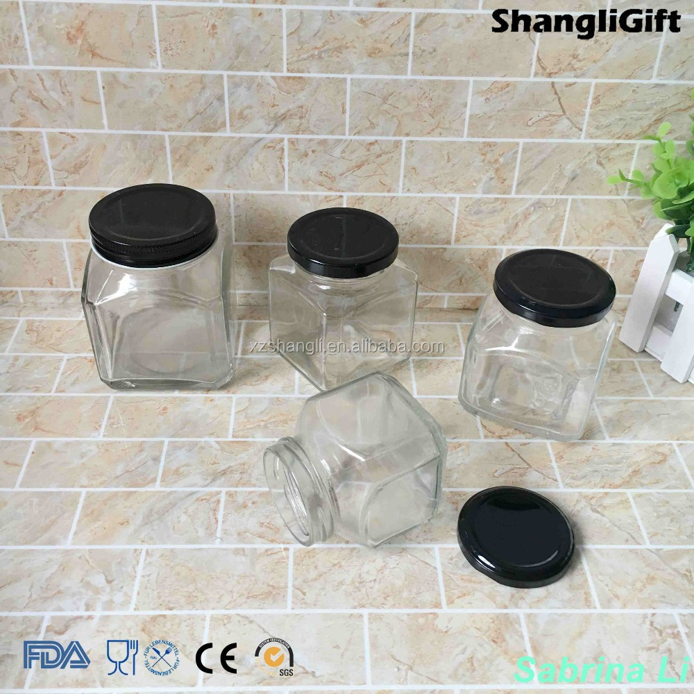 200ml 300ml 400ml square honey pickles glass jar with tinplate lid