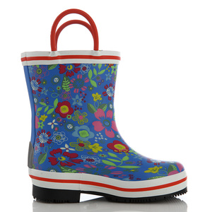 BaiLi Kids' Waterproof flower print Rubber Rain Boots with Easy-On Handles