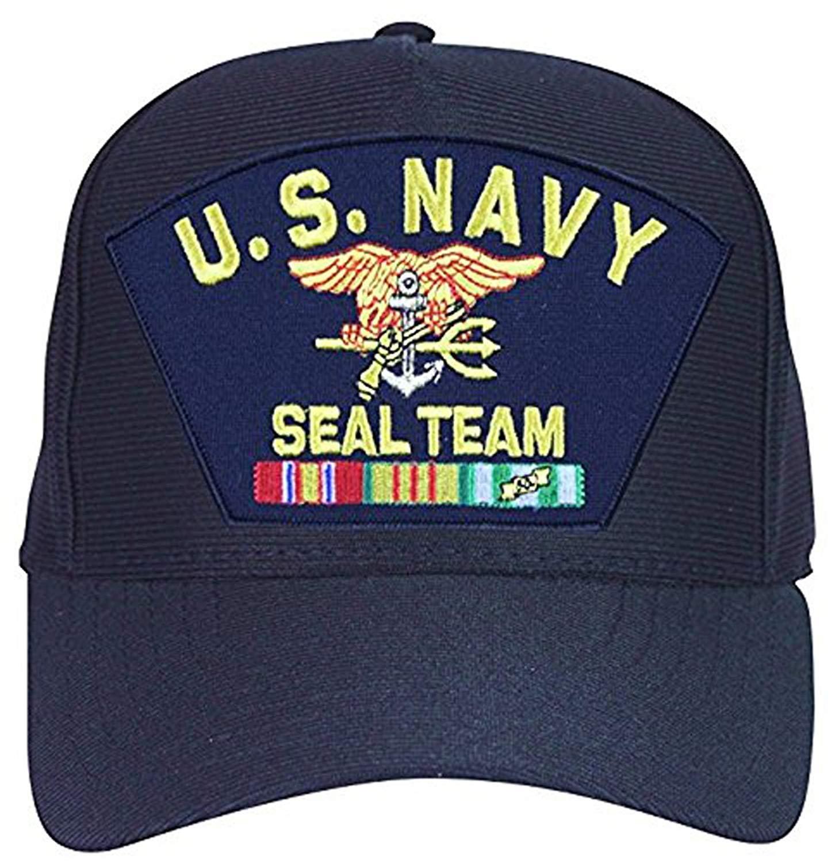 63b8d4b197a11 Get Quotations · Navy Seal Team With Vietnam Veteran Ribbons Baseball Cap.  Navy Blue. Made In USA