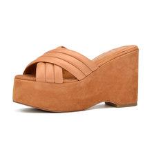Donna-in 2020 женские шлепанцы из натуральной кожи, туфли на платформе и высоком каблуке, модные золотые блестящие шлепанцы, женская обувь(Китай)