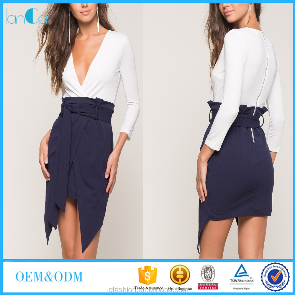 Women clothes fashionable stitching pictures office dress for ladies