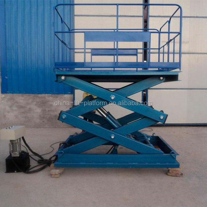 Heavy duty stationary hydraulic scissor lift for warehouse forklift