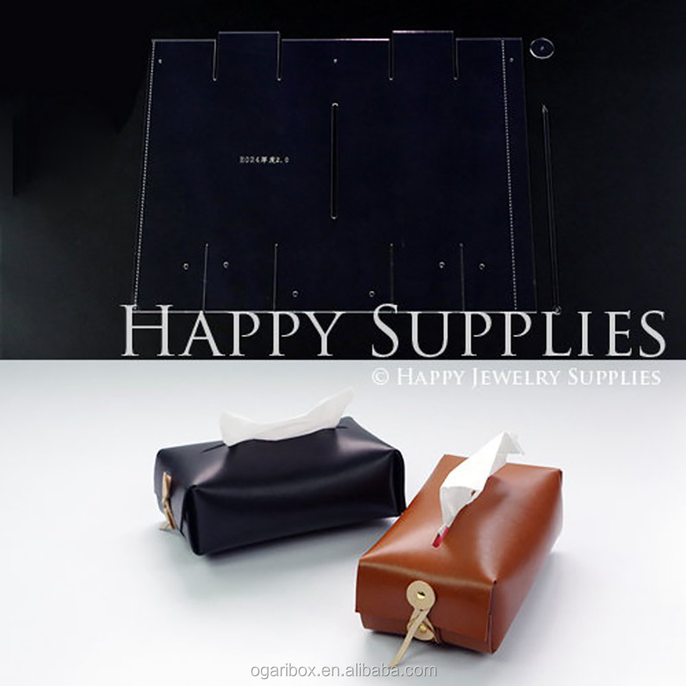 China Custom Acrylic Leather Template Pattern Tissue Paper Box Cover In Shenzhen
