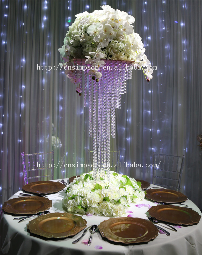 5 tier square crystal chandelier centerpiece giant 90cm for Buy wedding centerpieces