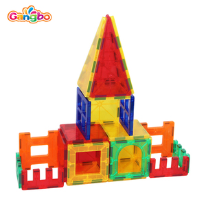 80pcs per set playmags with color cardboard gift box packing build bungalow track glass room car freight camper chick car villa