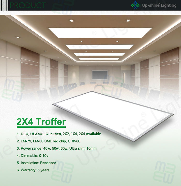 2'x4' Led Troffer Dimmable Driver And Fire Rated Junction Box Ul ...