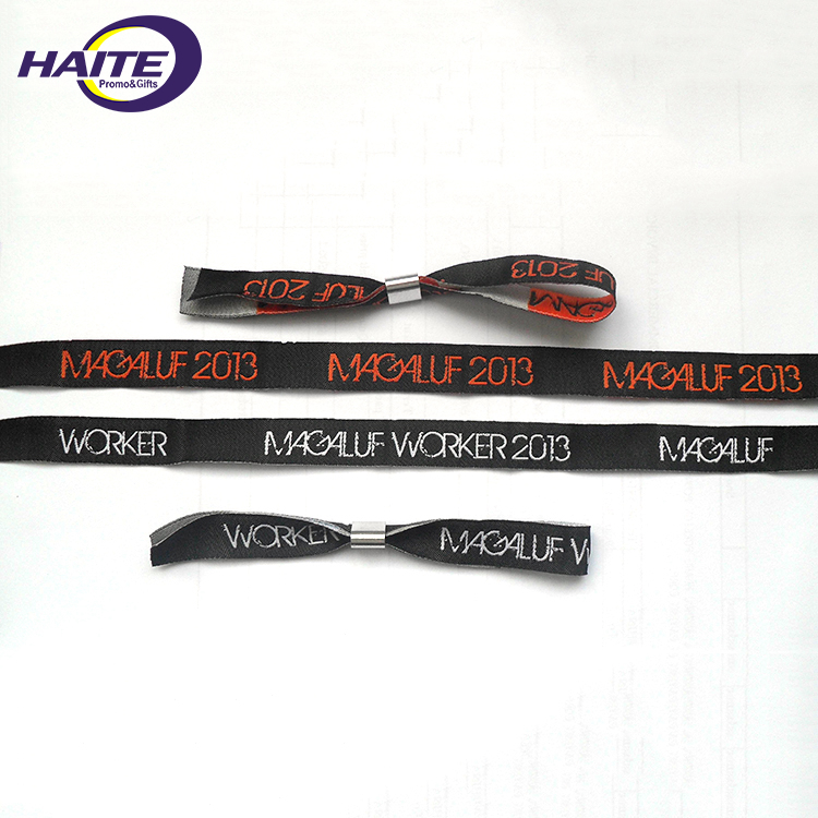 2018 high quality festival fabric wristband with plastic lock