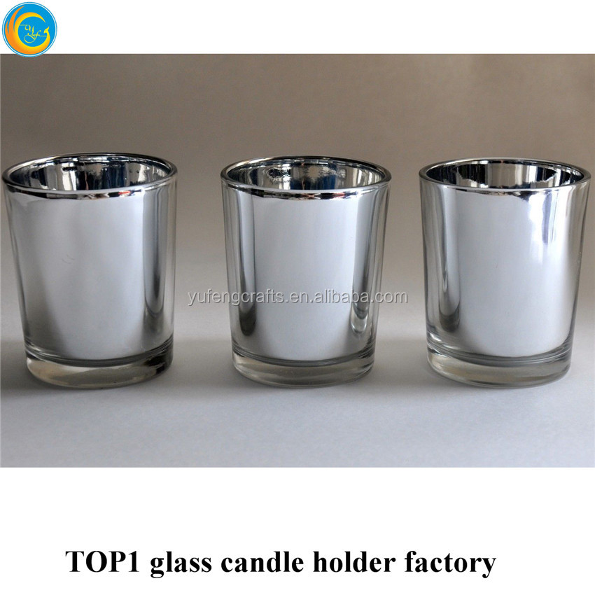 Electroplated silver glass tealight holders bulk
