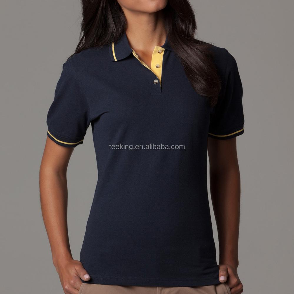 Design t shirt uniform - Women Office Uniform Pique Polo Shirt Design