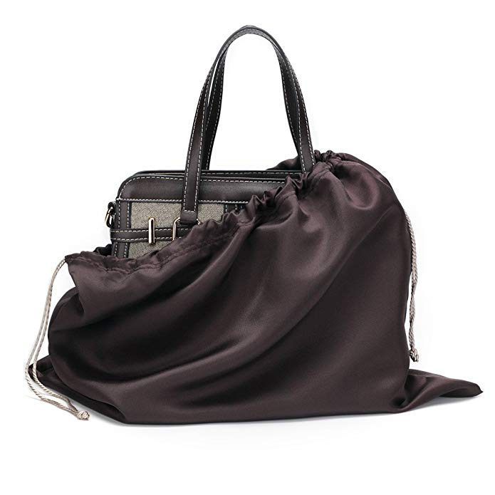 breathable dust proof satin drawstring pouch for handbag