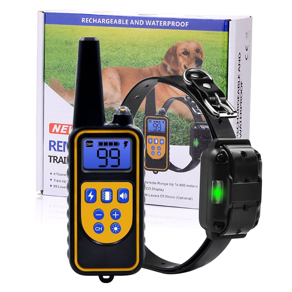 Pet Accessories Worldwide Dog Training Shock Collar with Rechargeable Remote, 875 yards Range with Beep Vibration, Waterproof for 3 dogs, All dogs and puppies Sizes Small Medium and Large by