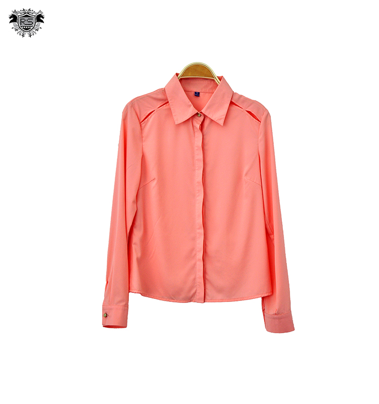 2016 hot selling women fashion cutting blouse design with shirt collar