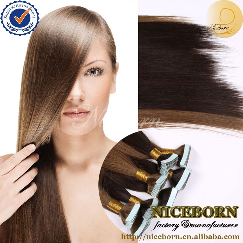 Long lasting all color 100% Remy Human Double Drawn Straight Tape Hair Extensions cheap price