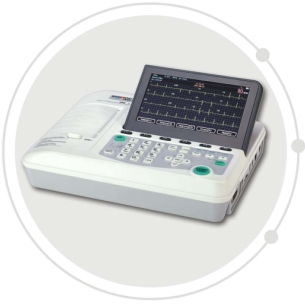 Portable 7 inch 3 channel ECG machine supporting External printer and automatic report