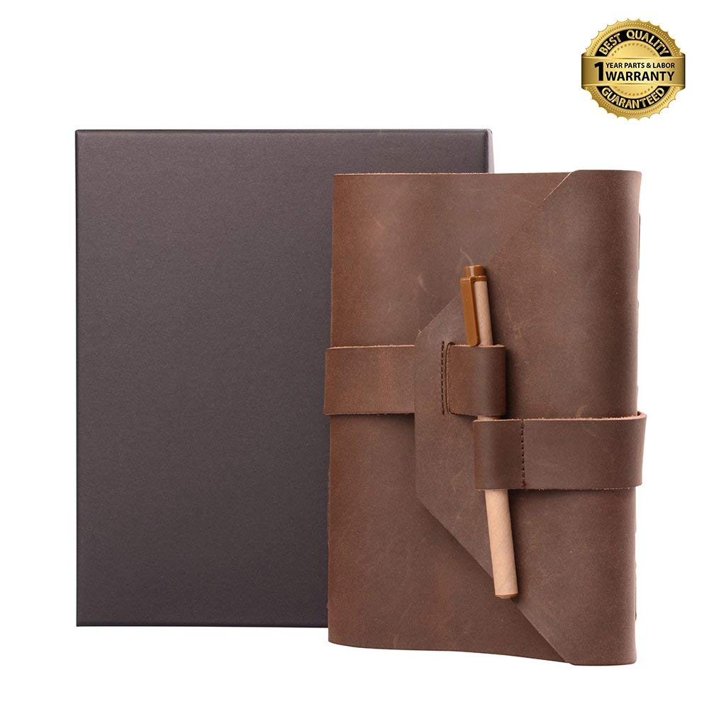 Leather Journal Cover Notebook Handmade Vintage Travel Diary Planner Writing Sketchbook Paper with Pen Lock Strap for Men Women (Brown)
