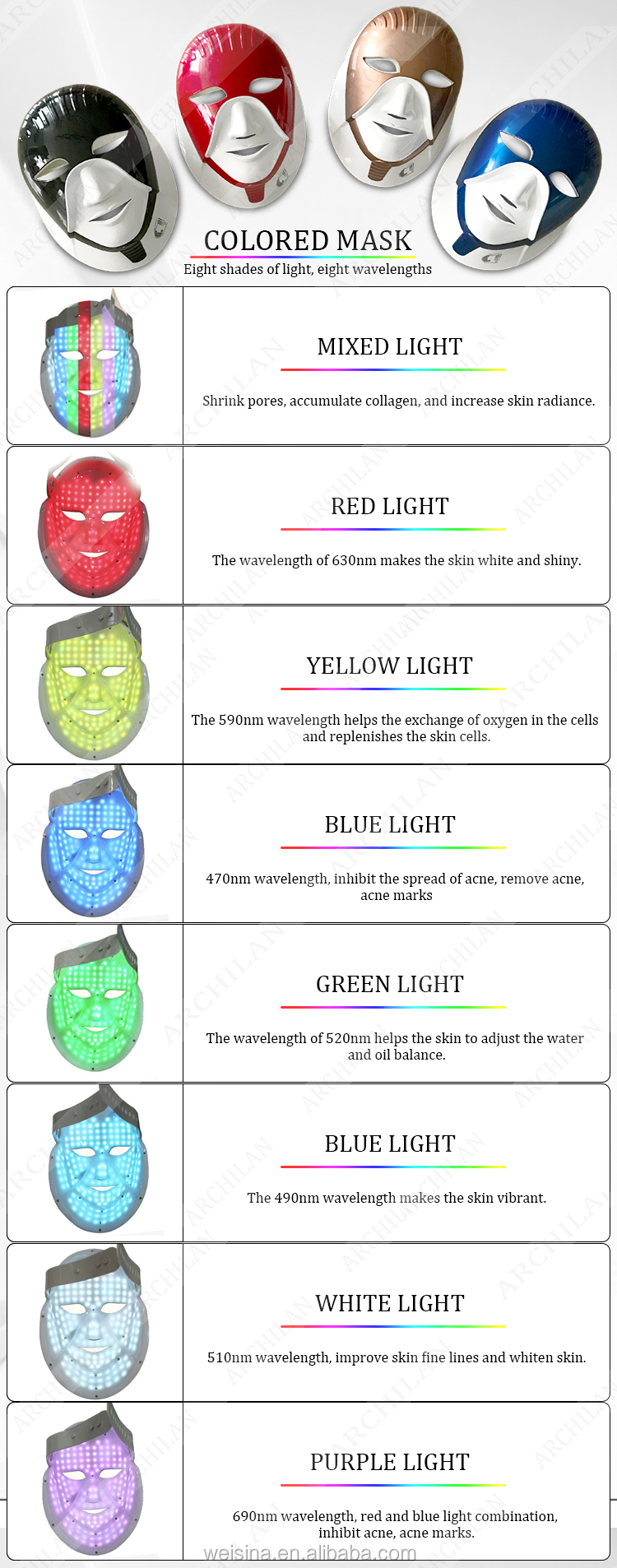 Multi-Functional 7 Color Face Changing Mask Anti Aging LED Mask Beauty