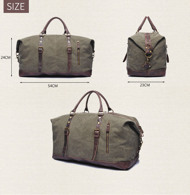 Large capacity vintage leather canvas travel flight weekender holdall overnight luggage duffel duffle bag for men