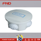 NEW Round 4-Terminal Junction Box with Knockouts Grey 80mm