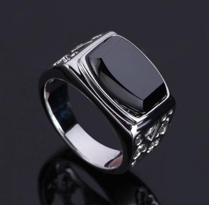 Wholesale Turkish Jewelry Black Gems Stone Man Rings
