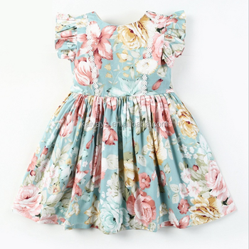 Wholesale Boutique fluttering sleeves 100% cotton kids print children's dress little girl princess dress