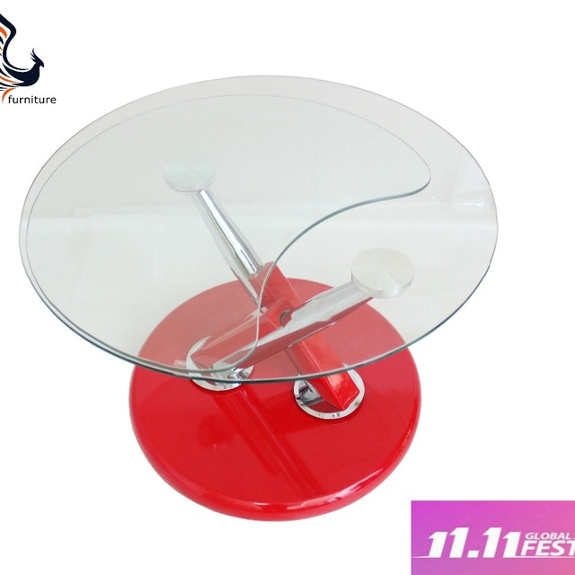 Round Mirrored Modern Glass Top Table Glass Table With Stainless Steel Leg