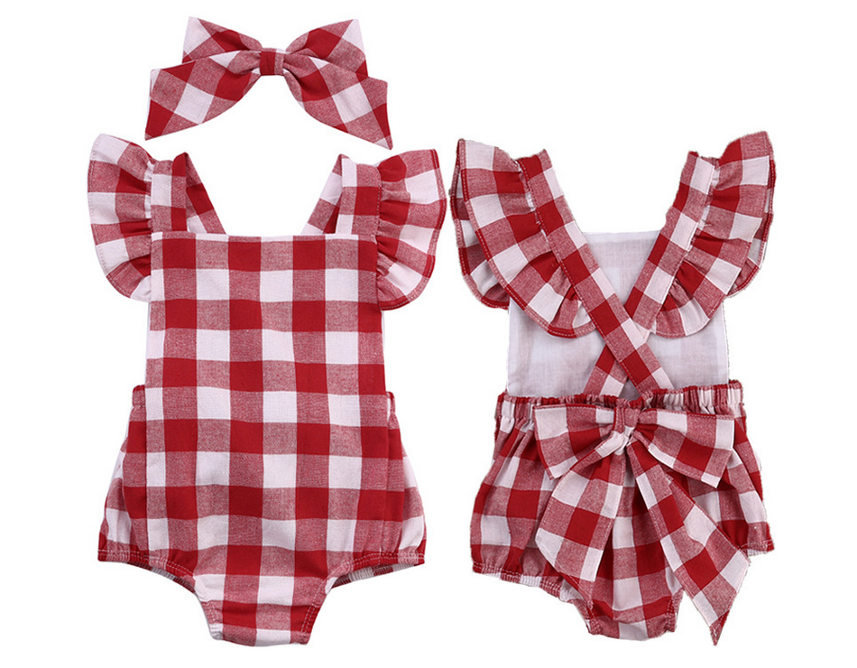 6351b9261a7a Newborn Infant Baby Girls Clothes Red Plaids Checks fly sleeves Romper  Jumpsuit Bodysuit Outfits